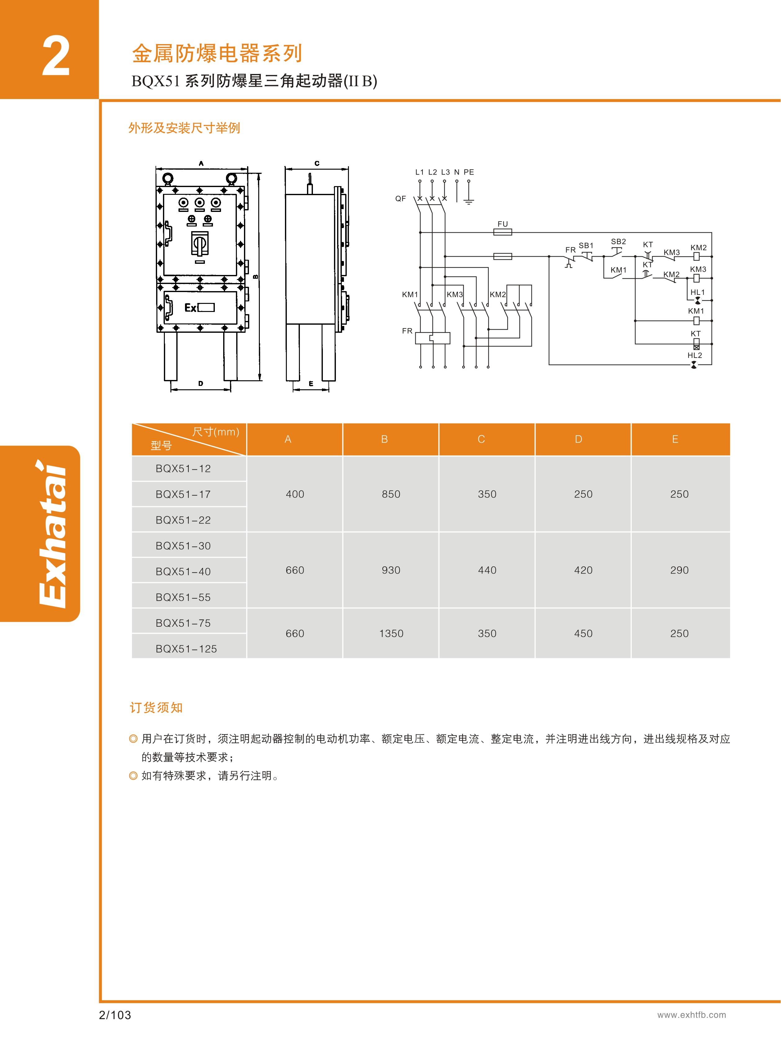 15天 产品证件 -- 尺寸图 - 防爆星三角起动器的规格参数 电压 220v